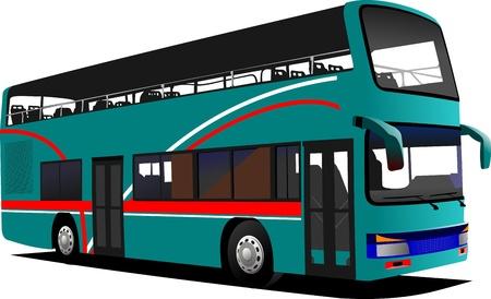 ramble: Double Decker  sightseeing bus. Vector illustration