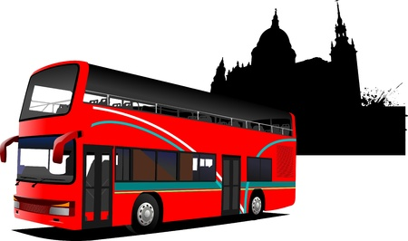 red bus: London double Decker  sightseeing red bus. Vector illustration