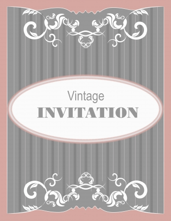Invitation vintage card. Wedding or Valentine`s Day. Vector