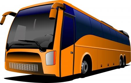 rout: Orange tourist  bus on the road. Coach. City bus. Vector illustration