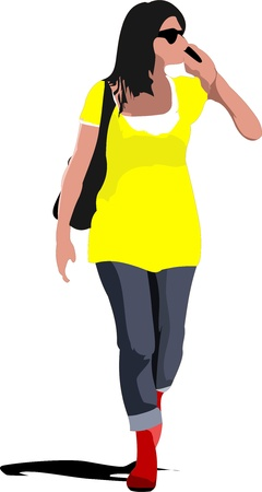 Young woman is walking on the street with bag and speaking mobile phone. Vector illustration Stock Vector - 14829471