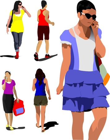 Collection of young women silhouette are walking on the street with bag and speaking mobile phone. Vector illustration Stock Vector - 14829537