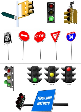 Set of traffic lights. Red signal. Yellow signal. Green signal Vector
