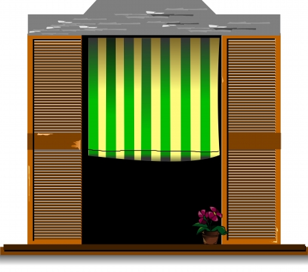 window curtain: Old-fashioned window with flower  Vector illustration