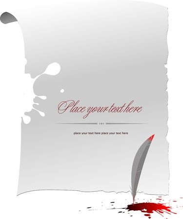 Note page with Ink blot, feather and blots Stock Vector - 14829536