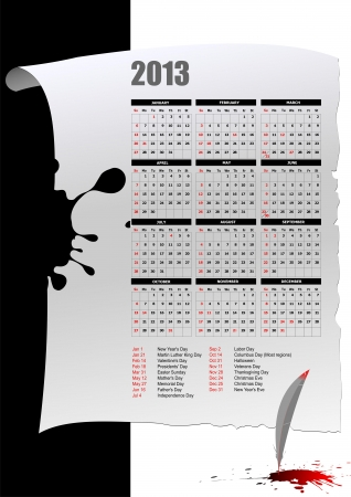 Calendar 2013 with American holidays  Months  Vector illustration Vector