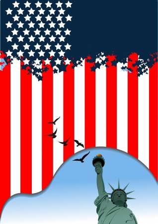 4th July – Independence day of United States of America  American flag  Vector Vector