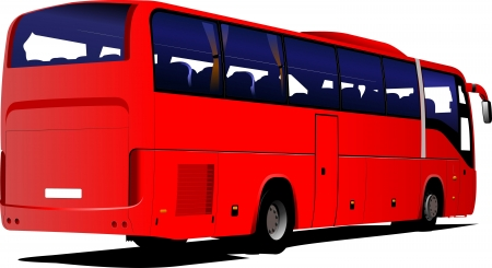red bus: Red Tourist bus. Coach. Vector illustration for designers Illustration