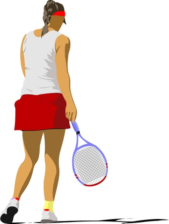 Woman tennis poster. Colored Vector illustration  Vector