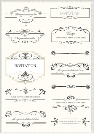 flourishes: Calligraphic elements, dividers and frame vintage set.  Illustration