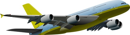 approaching: Passenger airplane on the air. Vector illustration  Illustration