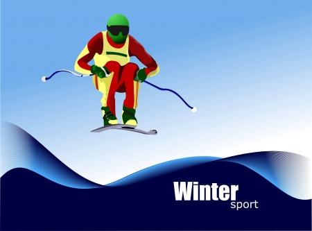 Jjumping  Ski runner Stock Vector - 14829575