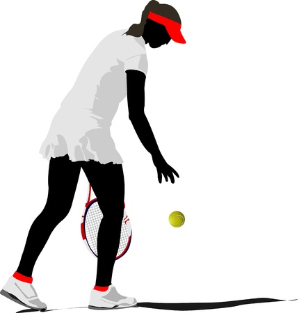 lawn tennis: Woman tennis. Colored Vector illustration