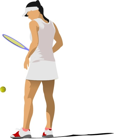 Woman tennis poster. Vector