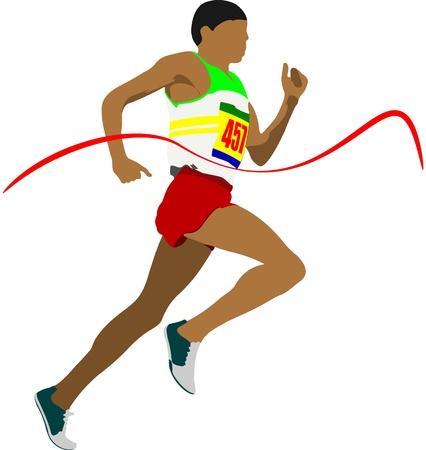 athletics training: Track and field  Man running  Vector illustartion