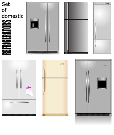 stainless steel kitchen: Big set of Domestic refrigerators  Vector illustration