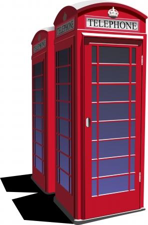 cabina telefonica: Londres rojo caja de teléfono público ilustración vectorial