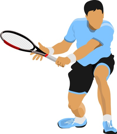 lawn tennis: Tennis player  Vector illustration for designers
