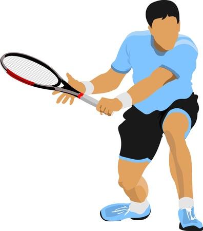 racquet: Tennis player  Vector illustration for designers