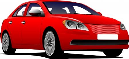 open car: Car sedan on the road  Vector illustration Illustration