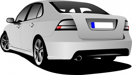 Rear view of silver car sedan on the road  Vector illustration Illustration