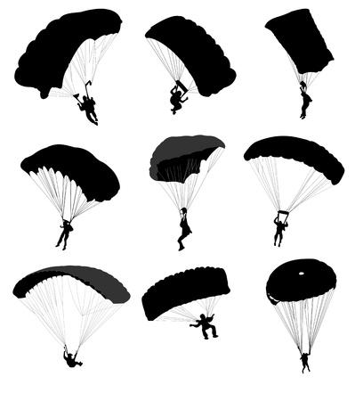 spadochron: Duży zbiór spadochroniarzy w locie ilustracji wektorowych