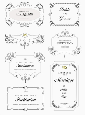 ornaments vector: Big collection of ornate vector frames and ornaments with sample text  Perfect as invitation or announcement  All pieces are separate