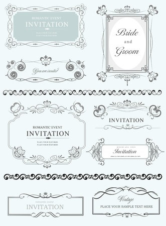 marriage certificate: Big collection of ornate vector frames and ornaments with sample text  Perfect as invitation or announcement  All pieces are separate