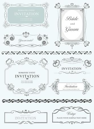 Große Sammlung von vektor verzieren Frames und Ornamente mit Beispieltext Perfekt als Einladung oder Ankündigung Alle Stücke sind getrennt