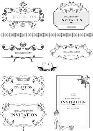 letterpress: Big collection of ornate vector frames and ornaments with sample text  Perfect as invitation or announcement  All pieces are separate