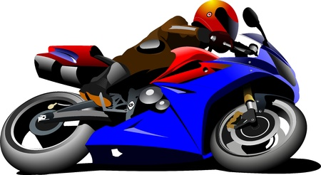 Motorcycle on the road  Biker  Vector illustration Vector