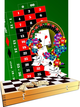 Roulette table, casino elements and chess board Vector