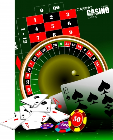 roulette table: Casino elements  Vector illustration Illustration