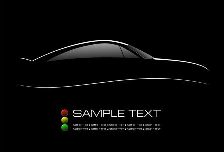 silueta coche: Silueta blanca de coche sed�n negro en la ilustraci�n vectorial de fondo Vectores