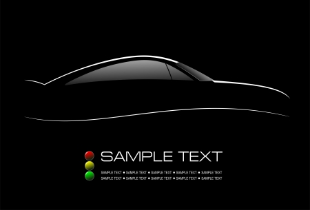 White silhouette of car sedan on black background  Vector illustration