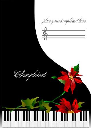 popular music concert: Modello di biglietto di auguri con pianoforte e fiori o copertura per Illustrazione vettoriale note