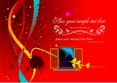 doted: Red doted  background with window image and place for text  Vector illustratuin