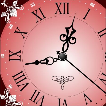 midnight: Antique looking clock face  Vector illustration Illustration