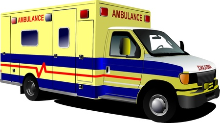 Van ambulance moderne sur blanc illustration vectorielle color�e