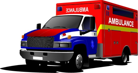 public service: Modern ambulance van over white  Colored vector illustration
