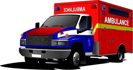salud publica: Van ambulancia moderno sobre blanco ilustración vectorial de color Vectores