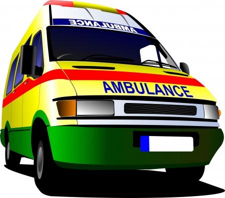 emergency vehicle: Ambulanza van moderna su sfondo bianco illustrazione vettoriale colorata Vettoriali