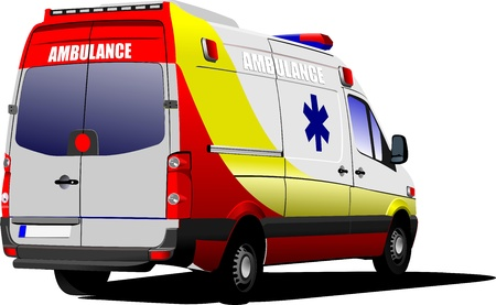 Modern ambulance van over white  Colored vector illustration