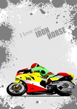 iron horse: Grunge gray background with motorcycle image. Iron horse. Vector illustration