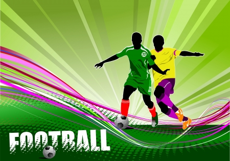 football match: Poster di giocatore di football (calcio). Illustrazione vettoriale colorato per i progettisti