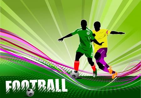voetbal silhouet: Poster van voetballer (voetbal). Gekleurde Vector illustratie voor ontwerpers