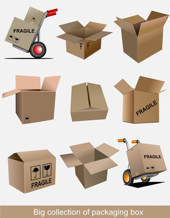 work crate: Big collection of carton packaging boxes. Vector illustration Illustration