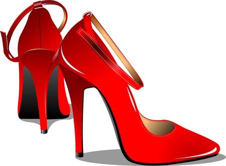 comprando zapatos: Mujer par de zapatos rojos de moda Ilustraci�n vectorial