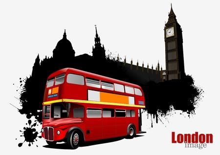 london big ben: Grunge London баннер с двухэтажный автобус иллюстрации векторные изображения