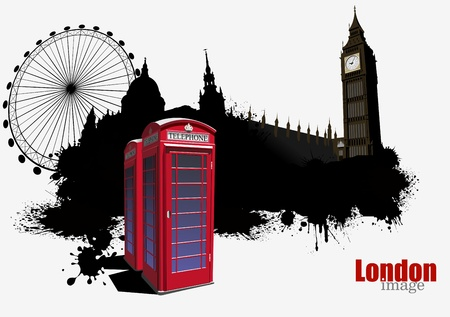 Grunge London banner with red call-box image  Vector illustration Vector